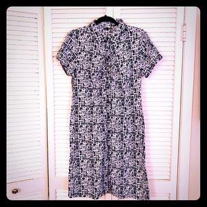 🌸NEW🌸EUC VTG b/w abstract scratch print dress